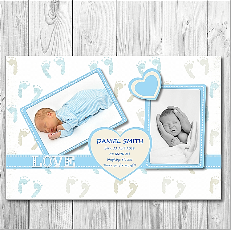 10 Personalised Thank You Birth Announcement Arrival Card New  Boy Baby  Card