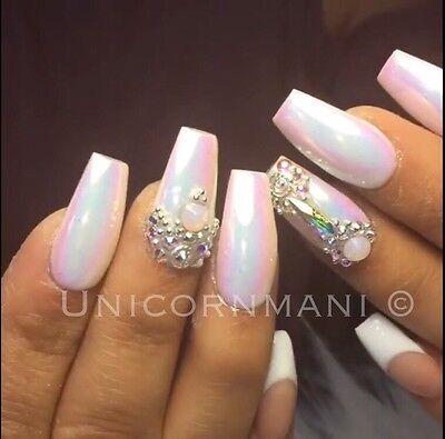 6 Of 12 Unicorn Chrome White Mirror Effect Powder Nail Art Mermaid Rainbow Ab Crystal Um