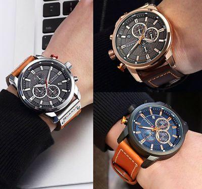Men Waterproof Leather Aviator Army Military Chronograph Date Quartz Wrist Watch 11