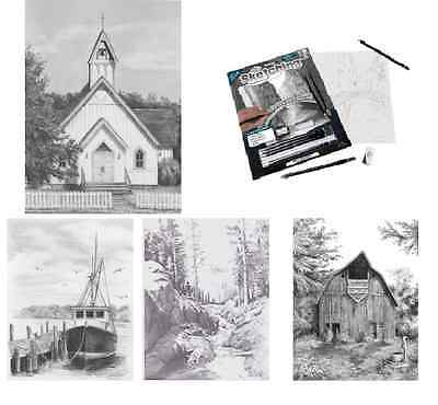 Animals & Landscapes Sketching Made Easy Drawing Kits & Graphite Pencils Set 3