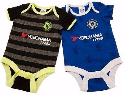 CHELSEA FC BABIES PRAM BODY SUIT SHORT SLEEVE BABY GROW VEST x2 CFC THE BLUES