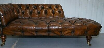 Howard & Son's Restored Brown Leather Chesterfield Chesterbed Walnut Framed 6