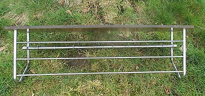 Vintage Wood Chrome Wall Coat Rack Shelf Mid Century Modern Railroad Industrial 3