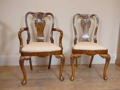 10 English Queen Anne Walnut Dining Chairs Ann Chair 5