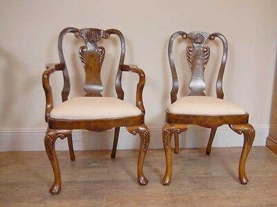10 English Queen Anne Walnut Dining Chairs Ann Chair 5