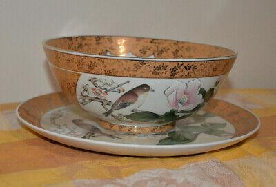 Japanese Kutani-ware Flower Bird pattern Bowl and Plate set Gold Cherry Blossom. 8