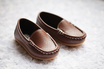 NEW Boys Formal Soft Rubber Sole Loafer Shoes, Brown Black, size 5,6, 7, 7.5,8 7
