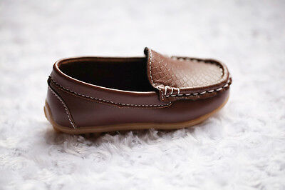 NEW Boys Formal Soft Rubber Sole Loafer Shoes, Brown Black, size 5,6, 7, 7.5,8 5