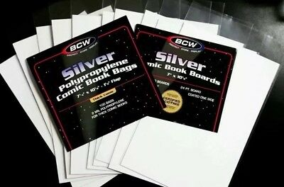 10 50 100 PREMADE BCW CURRENT SILVER GOLD Comic Book Bags and Boards ACID FREE 3