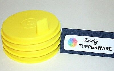 Tupperware Sipper Sippy Seals Set of 4 Flat Yellow G Bell Tumbler Lids 1552 Rare 2