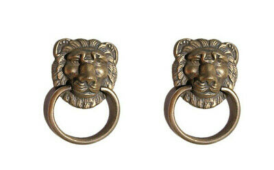 """4 PULLS handles Small heavy LION SOLID BRASS old style house antiques 2""""B 7"""
