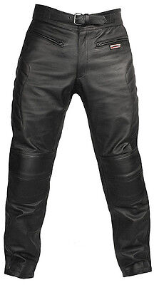 Mens CE Armoured Motorcycle Biker Black Leather Trousers Motorbike Jeans Pants
