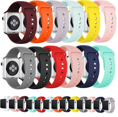 Silicone Strap Band for Apple Watch Sports Series 5/4/3/2/1 38mm 40mm 42mm 44mm 2
