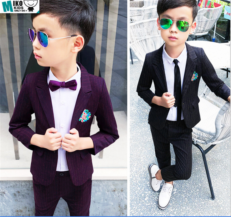 2pc Purple Necktie Vest Set Boy Wedding Graduation Party Formal Suit Sm-20