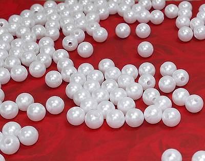 500 Perlen perlmutt weiß Hochzeit Sonderposten 10mm Perle Deko