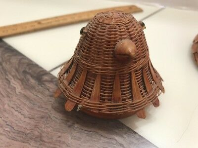 2 Vtg Rare Bamboo Chicken Hen Bird Basket With Cover China 1970s Estate Found 8