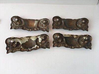 4 Antique Door Drawer Ornamental Back Plate Pressed Brass Antique Salvage #0022 8
