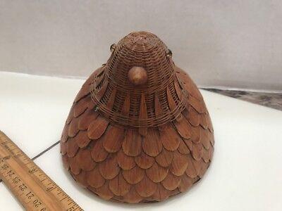 2 Vtg Rare Bamboo Chicken Hen Bird Basket With Cover China 1970s Estate Found 2