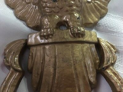 Vintage Cast Iron Bold Eagle Door Knock Two Pieces Gold Tone*