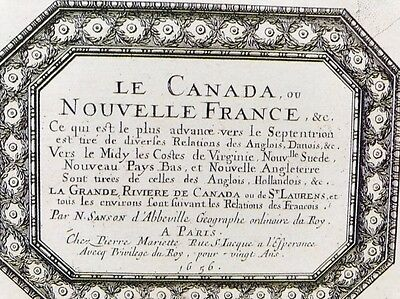 "Antique vintage old colour map Canada 1600's, 1656: 12 X 9"" Reprint"