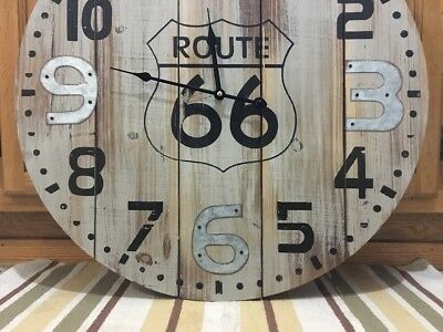 Route 66 Clock Country Vintage Style Gas Oil Pump Garage Wall Road Art Wood 4