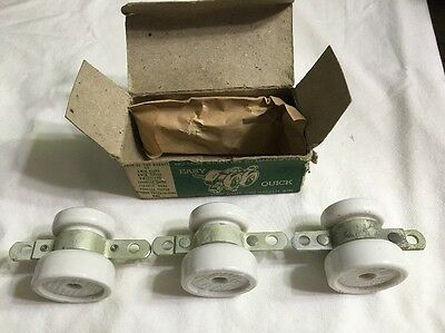 Vintage Porcelain Farm Electric Fence Gate Anchors Lot Of 3 USA Made Chicago NOS 3