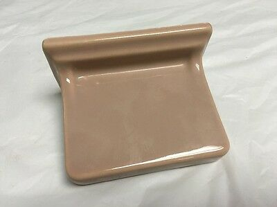 New Old Stock Porcelain 1950's Soap Dish Holder Wall Mount SPICED MOCHA 6