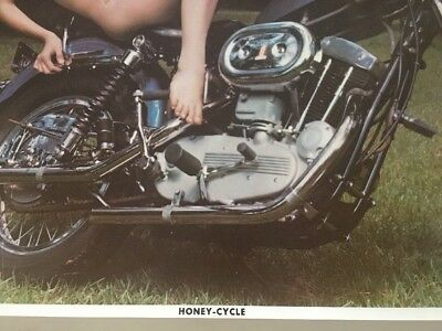 Honey Cycle Vintage Poster Naked Painted Woman Pin-up Harley Davidson Speedster