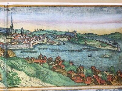 Old Antique  Map of Stockholm, Sweden: 1588 by Braun & Hogenberg REPRINT 1500's 5