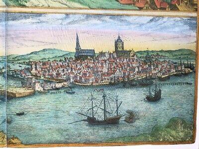 Old Antique  Map of Stockholm, Sweden: 1588 by Braun & Hogenberg REPRINT 1500's 7