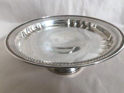 Vintage Revere Silversmiths Sterling Silver Round Pierced Pedestal Bowl Dish 3