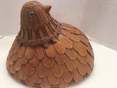 2 Vtg Rare Bamboo Chicken Hen Bird Basket With Cover China 1970s Estate Found 9