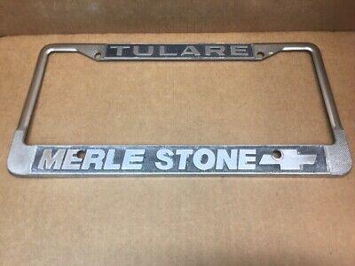 Tulare Ca Merle Stone Chevrolet Car Dealer License Plate Frame Vintage 58 88 Picclick