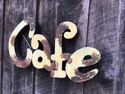 "Recycled metal  Retro ""CAFE"" Sign - Vintage Soft Yelloww Rusty Patina  - Kitchen 4"