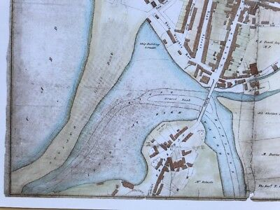 "1800/'s Reprint Old Antique colour map of Bangor 1834 Wales 12/"" x 9.5/"" Wood"