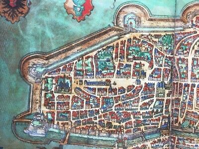 Old Antique Historic Map Augsburg Germany: 1563 Braun & Hogenberg REPRINT 1500's 6