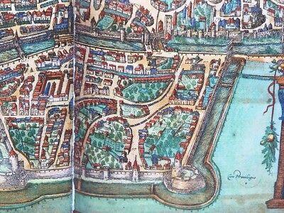Old Antique Historic Map Augsburg Germany: 1563 Braun & Hogenberg REPRINT 1500's 8