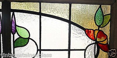 Large Antique Stained Glass Stunning Eight Color Floral                   (2755) 3