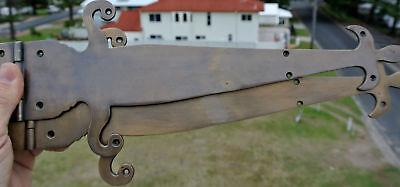 """2 Large"""" FLEUR de lis"""" hinges aged style solid 100% Brass DOORS BOX 17"""" long B 3"""