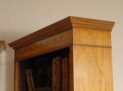 7 Ft English Regency Open Sheraton Bookcases Satinwood 3