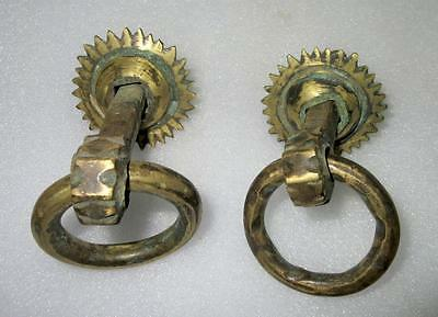 Antique Royal Old Hand Carved Brass Pair of Sun Shape Door Handle/Pulls 5