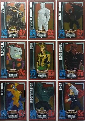 Topps HERO ATTAX Marvel Cinematic Universe SET OF 16 RED MIRROR FOILS 33-48
