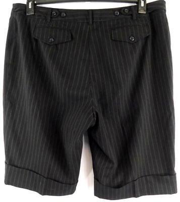 Lane bryant black brown striped single flap pocket dressy carpri pants 22 3