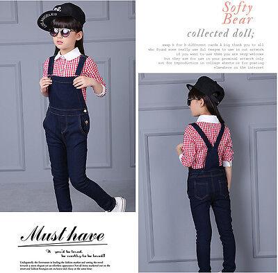 kid Denim overalls 2PC Long sleeve Plain Shirt+Overalls Jeans Girls Size 3-16YRS 2