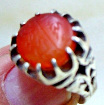 Personal Seal  Stone Antique Islamic Agate Set In Modern Sterling Silver Ring 5