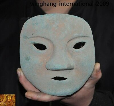 Rare China Ancient dynasty Bronze Ware Sacrifice Ritual people head mask statue 4