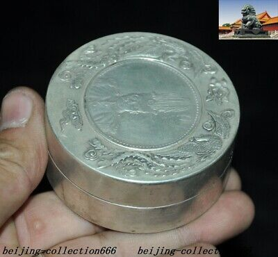 Old Chinese Tibet Silver Dragon Beast Yuan Shikai Coin statue Inkpad Box Boxes 3