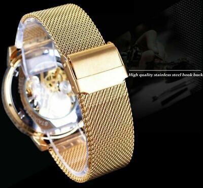 Men Skeleton Mechanical Wrist Watch Stainless Steel Luxury Steampunk Wristwatch 11