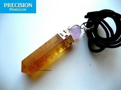 Citrine with Amethyst Ball Top Crystal Precision Pendulum Pendant Necklace 2