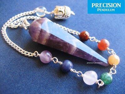 Amethyst Chakra Buddha Chain Faceted Healing Crystal Gemstone Precision Pendulum 4